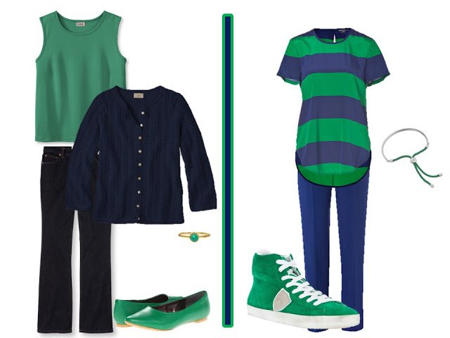 navy outfit with green accessories, and a navy and green striped shirt green tennies green ballet flats