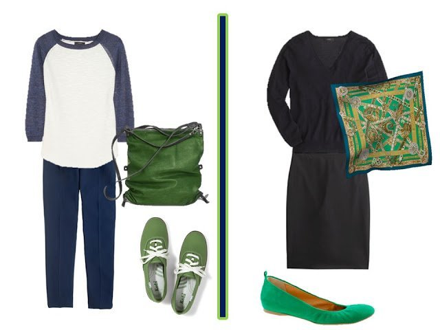navy and white outfit with green accessories