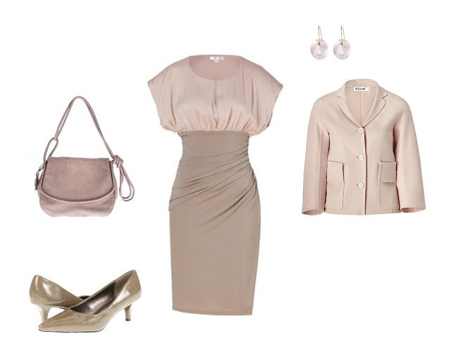 peach and taupe dress with jacket and dressy accessories