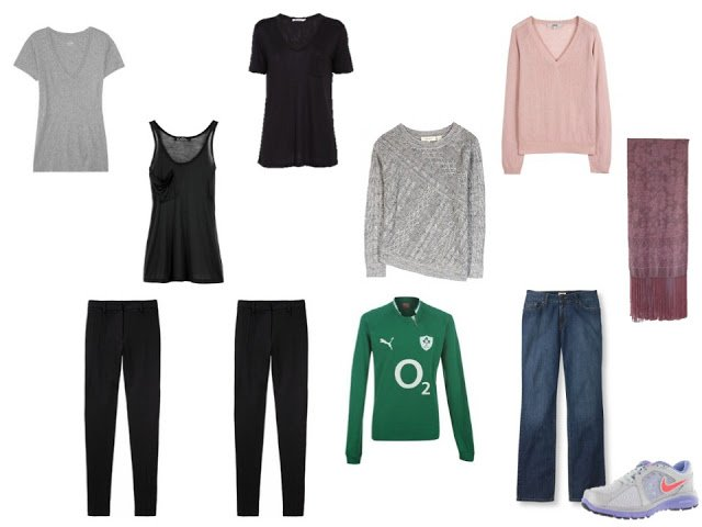 black, grey and pink capsule travel wardrobe with an Irish rugby jersey