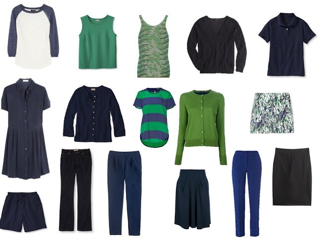 navy and green travel or capsule wardrobe