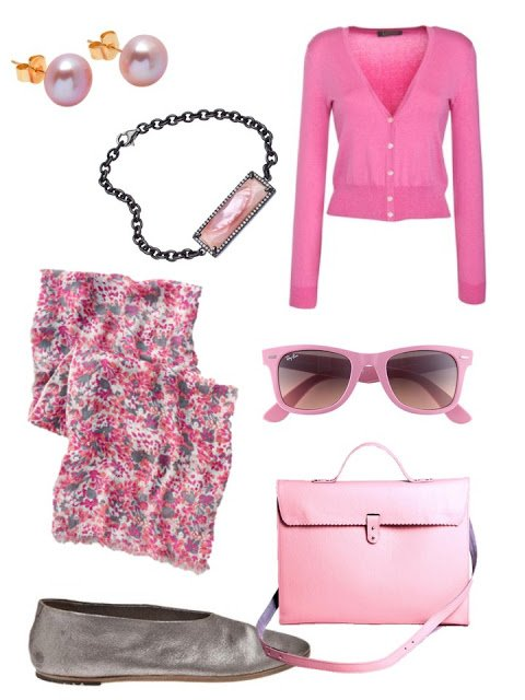 pink accessory family with pink cardigan and silver flats, and pink jewelry
