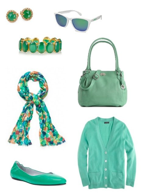 green accessory family with cardigan, flats, scarf, bag and jewelry