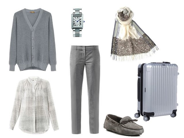 grey cardigan and pants travel outfit with grey print blouse