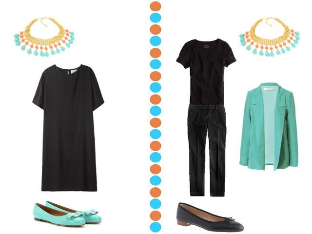 black dress and black outfit with turquoise and coral necklace