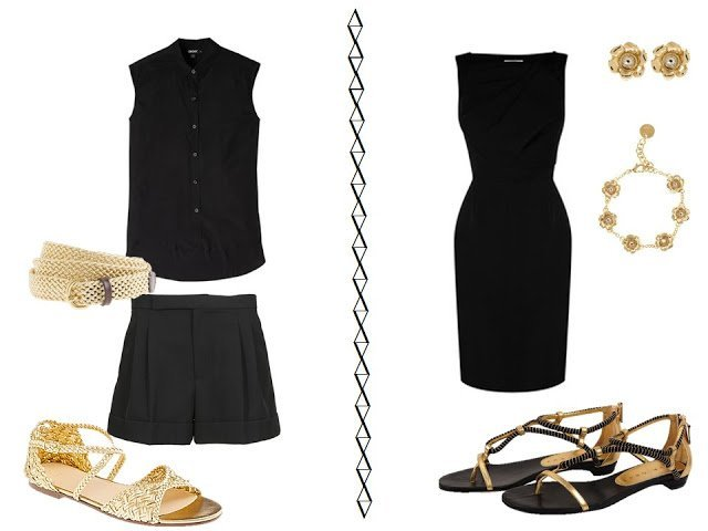 black shorts outfit and black dress with gold accessories