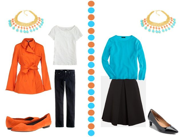 coral short trench with black and white outfit, and turquoise sweater black skirt with turquoise and coral necklace