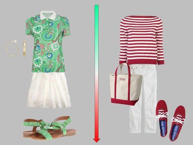 white skirt with green paisley top, white jeans with red and white striped sweater