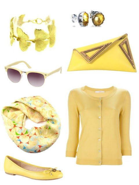 yellow accessory family with cardigan, ballet flats, a bag and jewelry