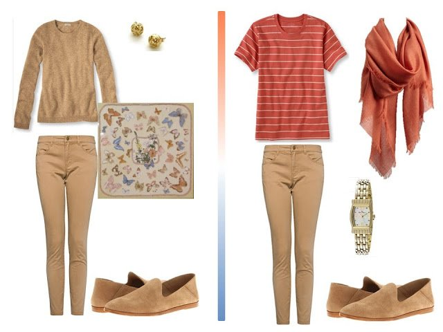 Two travel outfits with camel jeans, from a Camel Terracotta and Blue Travel Capsule Wardrobe