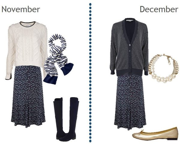 Simply Seasonless: Navy Skirt  with White Dots