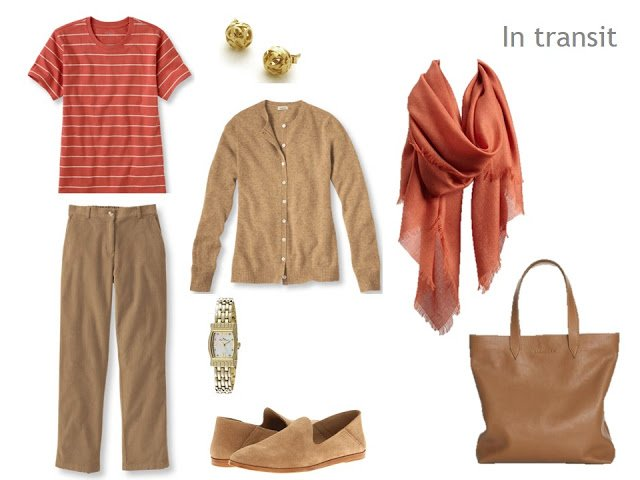 Travel outfit of a camel cardigan and trousers, with a terracotta striped tee shirt and matching scarf, and beige accessories