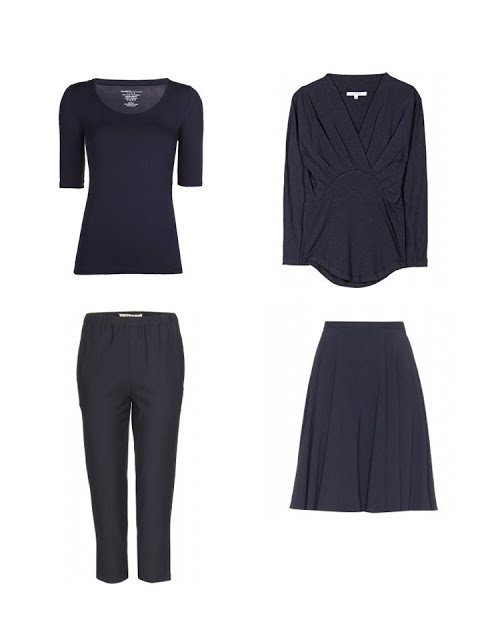 navy four by four - two tops, a skirt and a pair of pants