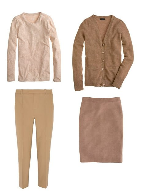 camel four by four of a tee shirt, cardigan, pants and skirt