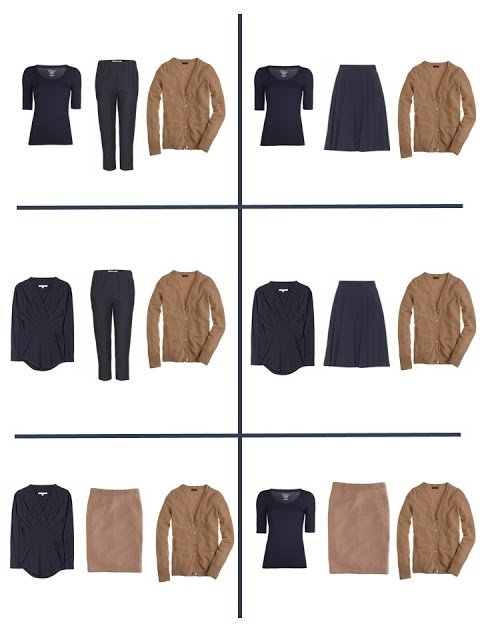 six outfits that come from two four by fours - navy and camel
