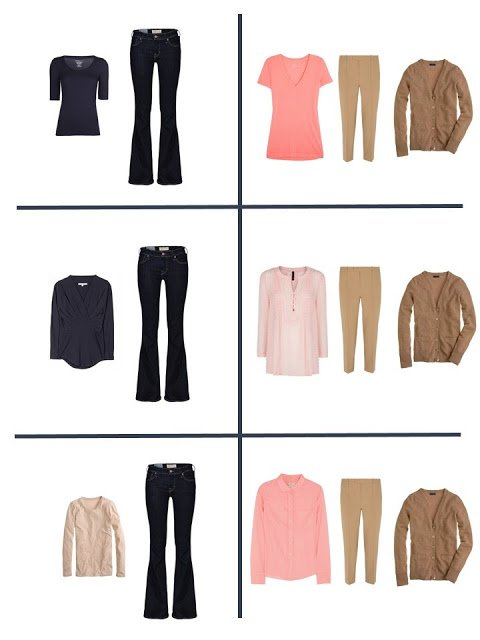 six outfits that come from a navy tan and peach twelve pack