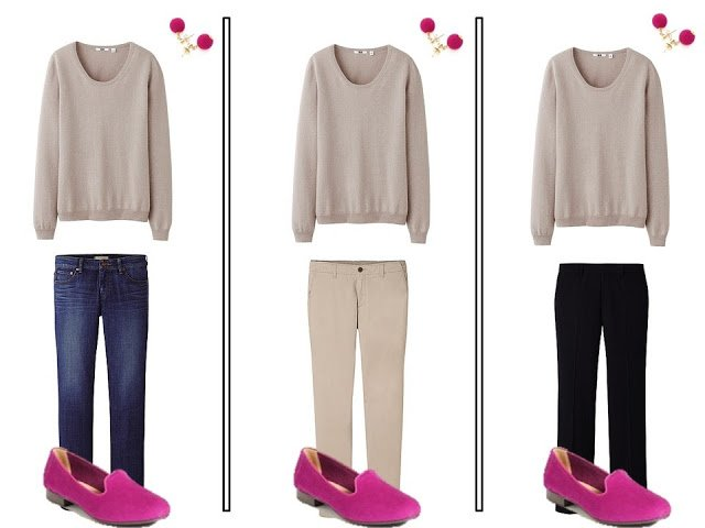 Vivacious pink accents neutral outfits