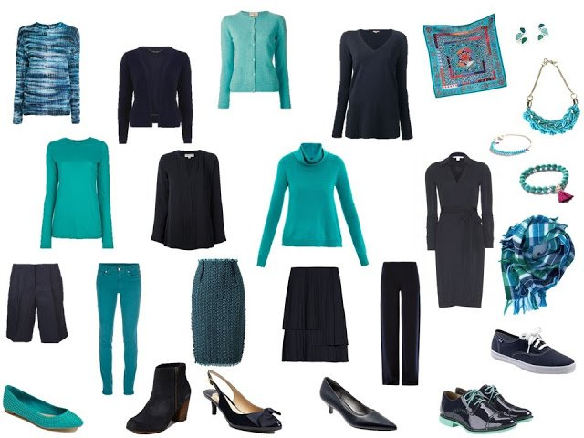 a navy and turquoise capsule or travel wardrobe; 13 pieces, plus accessories