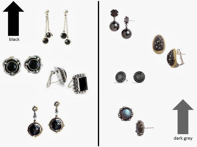 black earrings and dark grey earrings