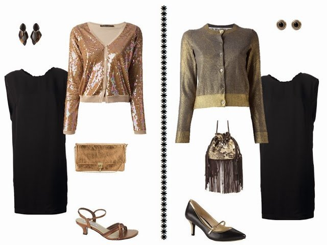 black dress with metallic cardigans