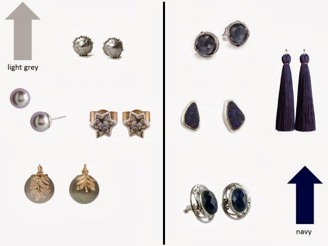 light grey earrings and navy earrings