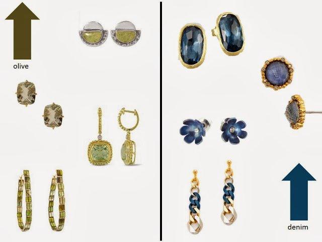 olive earrings and denim blue earrings