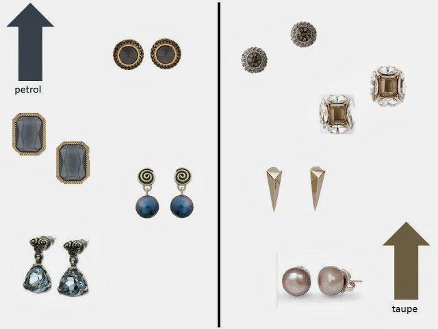 petrol blue earrings and taupe earrings