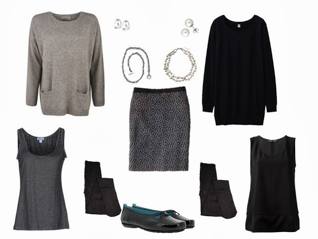"a wardrobe ""Cluster"" built around a grey dotted skirt, with two options for sweaters and jewelry"