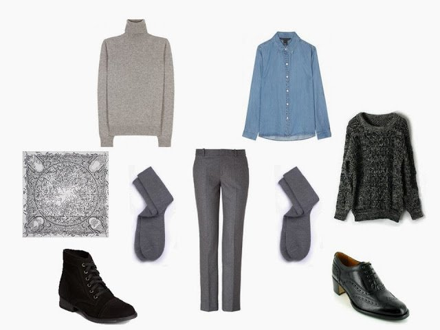 "a wardrobe ""Cluster"" built around a pair of grey flannel trousers, with two sweater options"