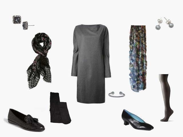 "a wardrobe ""Cluster"" built around a grey wool dress, with 2 options for shoes, hosiery, scarves and jewelry"
