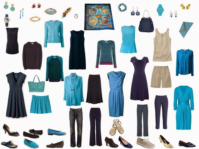 navy and turquoise capsule wardrobe, based on Hermes Grands Fonds silk scarf