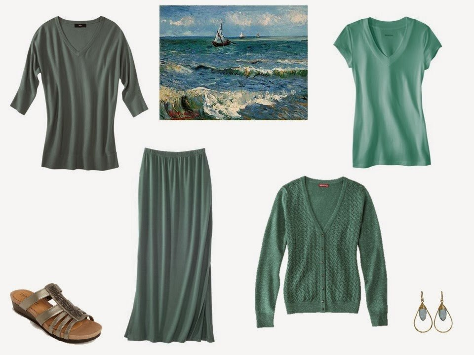four sea green garments with sandals and earrings