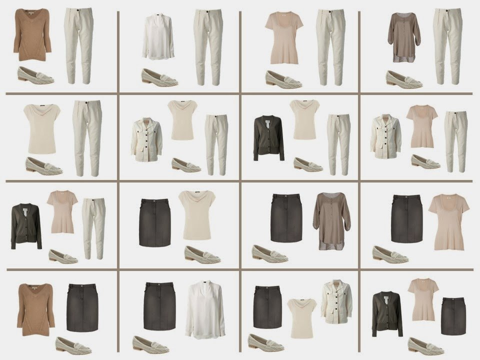 16 possible outfits from a 12-piece travel capsule wardrobe