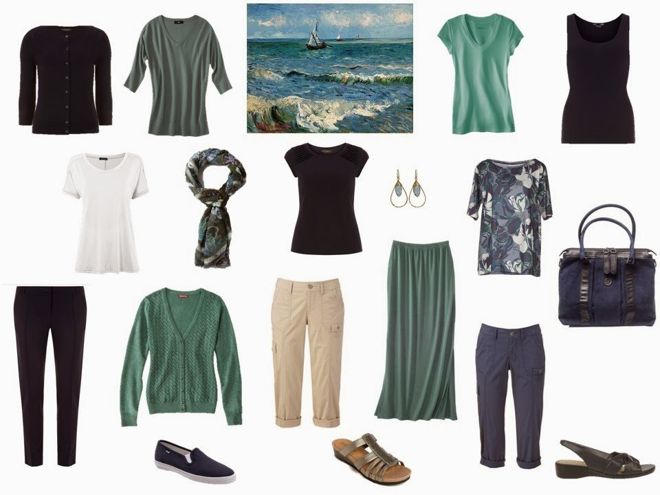 navy and sea green travel capsule wardrobe based on a Van Gogh painting
