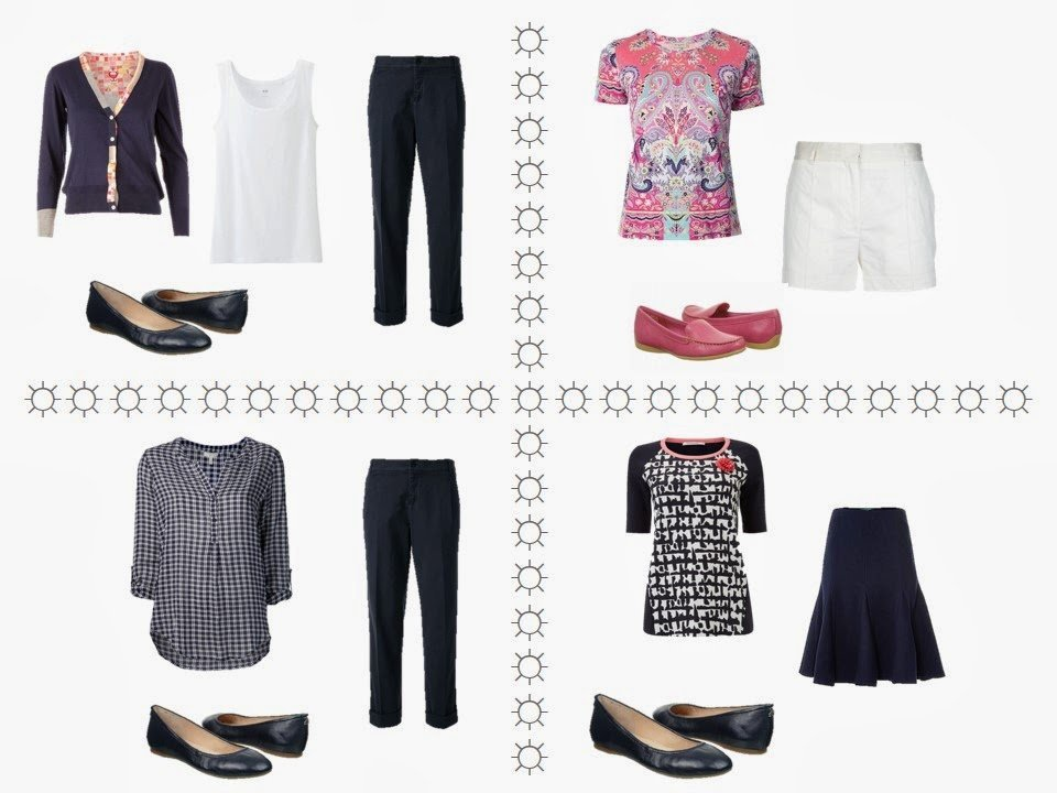 four outfits using an 11-piece travel capsule wardrobe in navy, coral and white