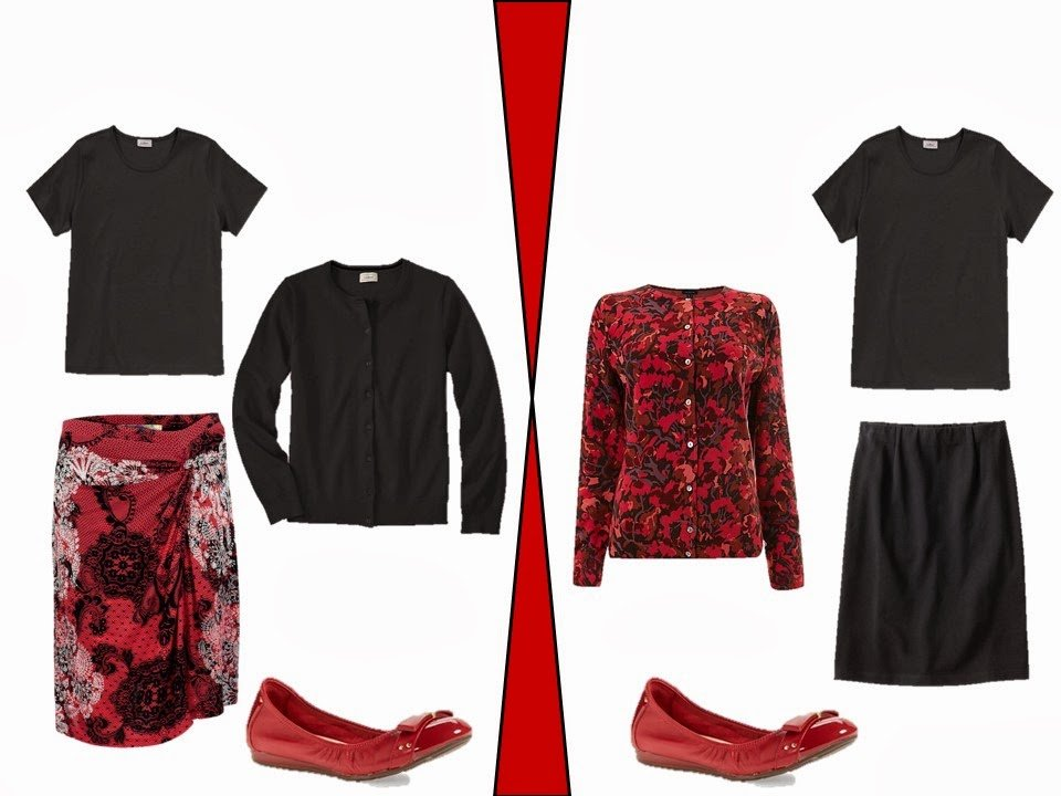 neutral garments accessorized with red