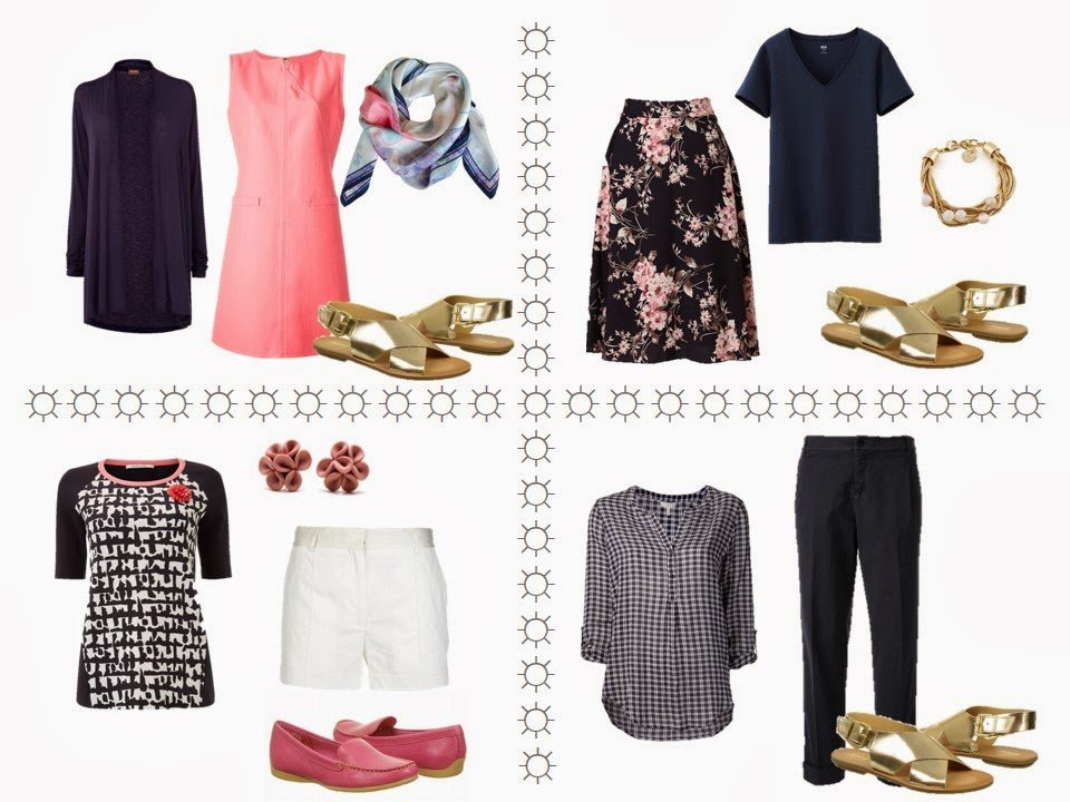 """Four outfits using a """"Six-Pack"""" in navy, coral and white"""