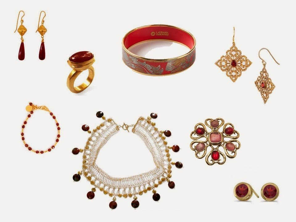 red jewelry with a baroque, ornamental sensibility