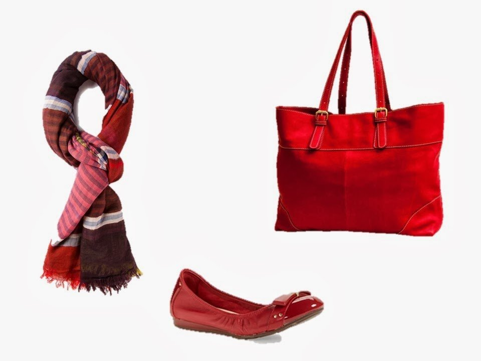 three red accessories - scarf, bag and shoes