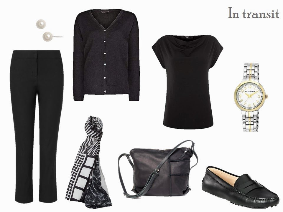 Travel outfit in black, with pearl and white accessories