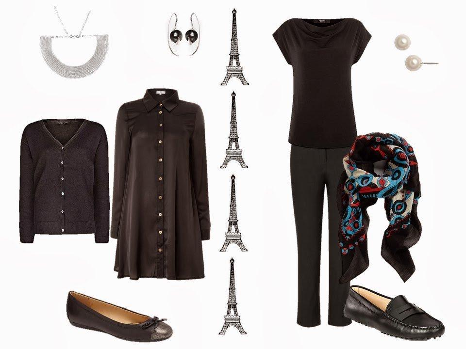 Simple black outfits, for Paris