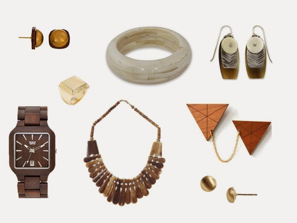 jewelry in wood tones and burnished metals that give a chalet feeling to a neutral wardrobe