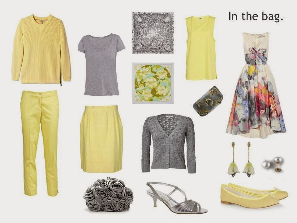 grey and yellow travel capsule wardrobe