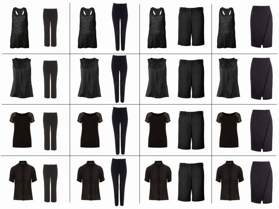 "16 outfits from 8 pieces of clothing - a ""Not So Crazy Eights"" in black"