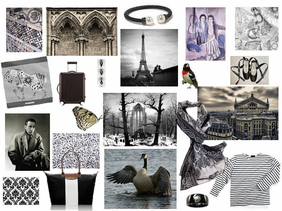 mood board in black and white with Gothic architecture and paisley and pearls