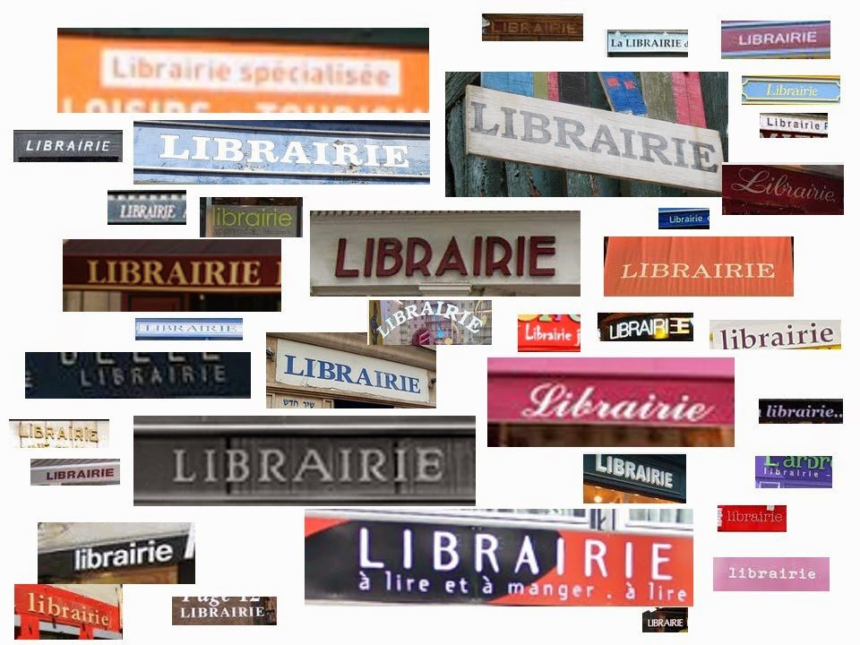 collage of Paris bookstore signs