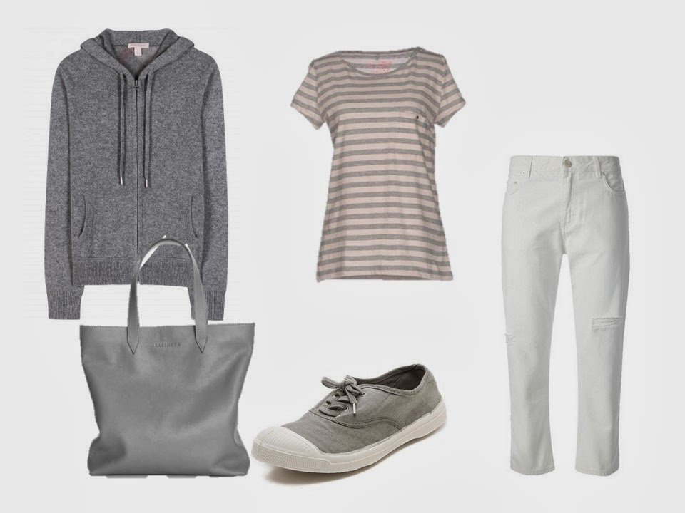 a grey hooded cashmere sweatshirt, worn with a striped tee shirt and white cropped jeans
