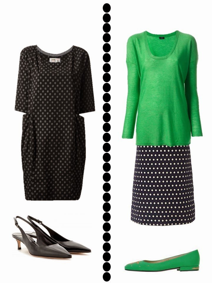 dotted dress and dotted skirt with green sweater