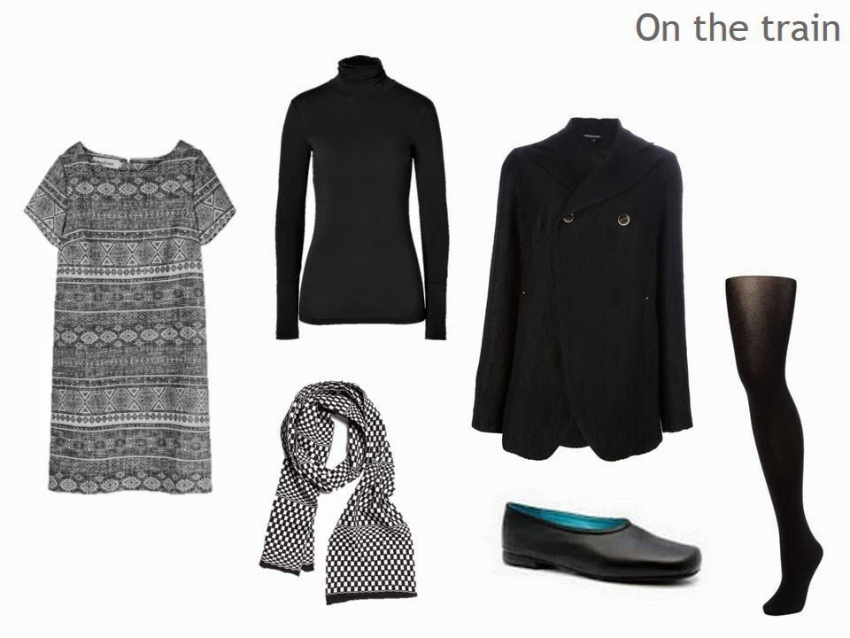 layering a dress with a sweater and tights for cool weather