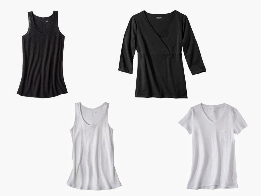 four neutral summer tops in black and white